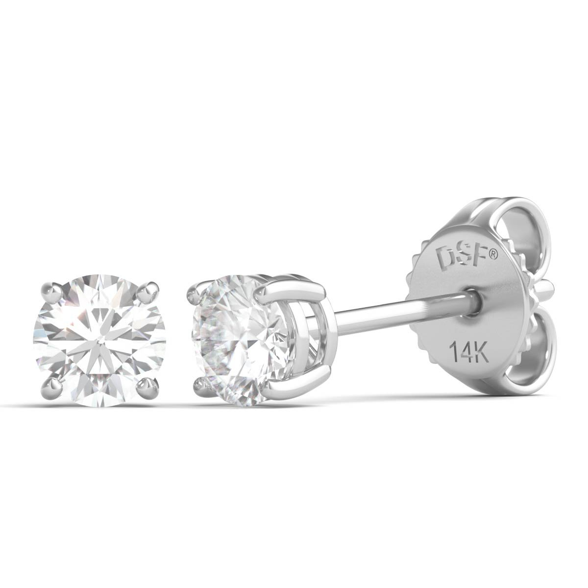Diamond Studs Forever Solitaire Diamond Earrings (1/3 Ct tw, AGS Certified GH/I2-I3) White Gold