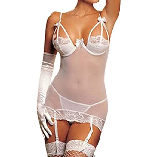 5df341ad2a Amazon.com  Auwer Lingerie Clearance Sexy Women Pajamas Mesh Lingerie  Nightwear Sleepwear Thong Suspenders Sets (White)  Clothing
