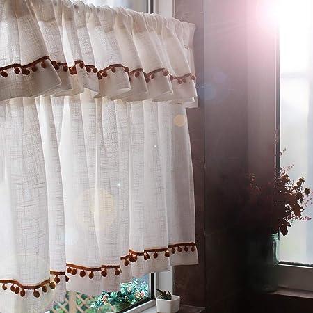 Visillos Cocina Cortina Cortinas Salon Modernas Cortina Corta Habitacion Cortina De Cocina Algodón Y Lino Hechos a Mano, Estilo Country Americano: Amazon.es: Hogar