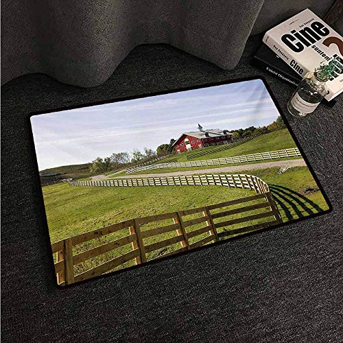 HCCJLCKS Front Door Mat Large Outdoor Indoor Farmland Long Photo of Flowing Fence of Country House in Rural Grassland Ranch Pastoral All Season General W24 xL35 Multicolor