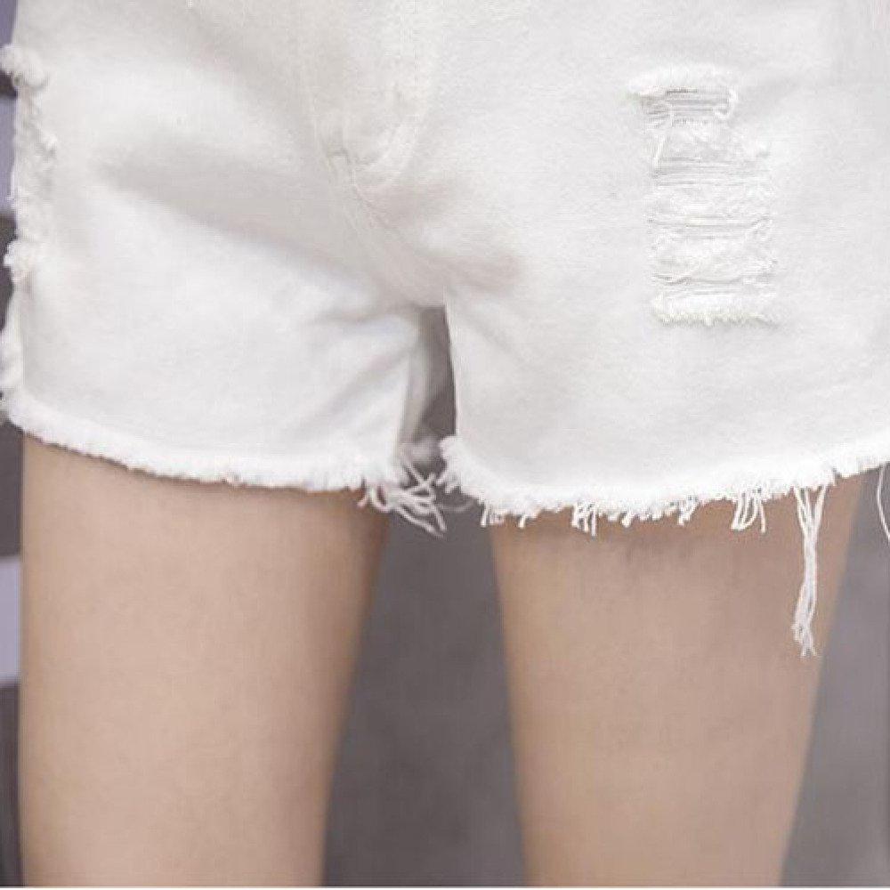 86376084b1 YongBe Pantaloncini di Jeans A Vita Alta Pantaloni Caldi A Vita ...
