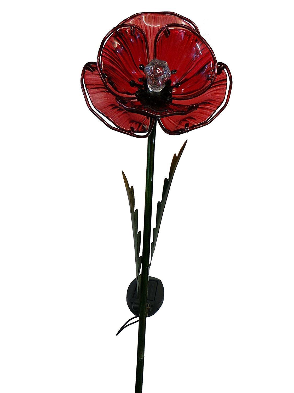 Poppy flower stake garden art poppy strong metal yard art flower - Solar Powered Light Up Poppy Flower Stake Light