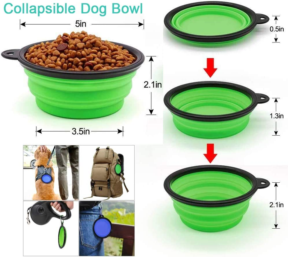 WOHENI Collapsible Dog Bowls for Travel 4 Pack Portable Dog Water Bowl for Travel Silicone Dog Cat Pet Feeding Watering Dish for Walking Parking