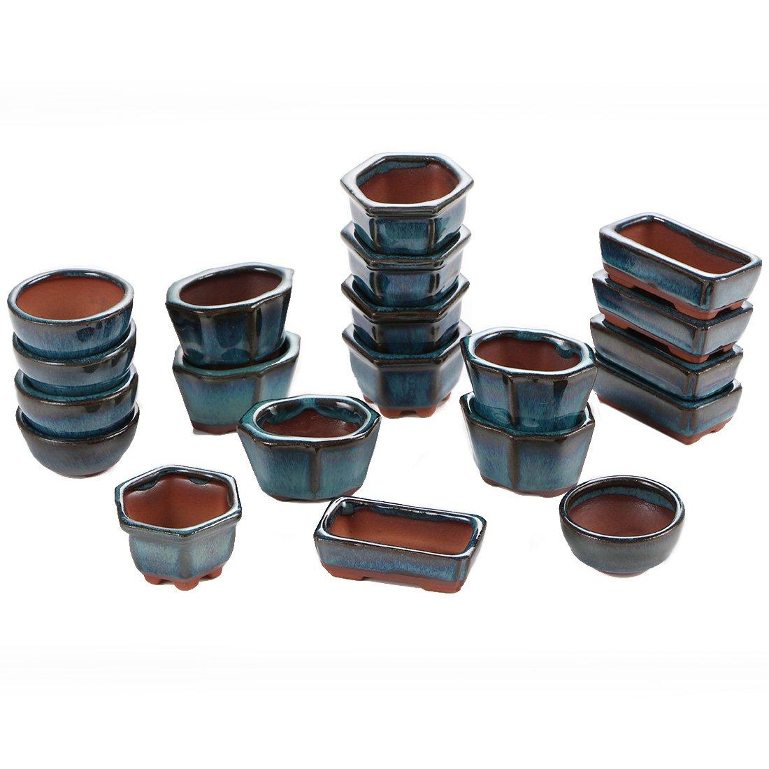 Happy Bonsai 20 Mini Glazed Pots Small Succulent Plant Flower Planters