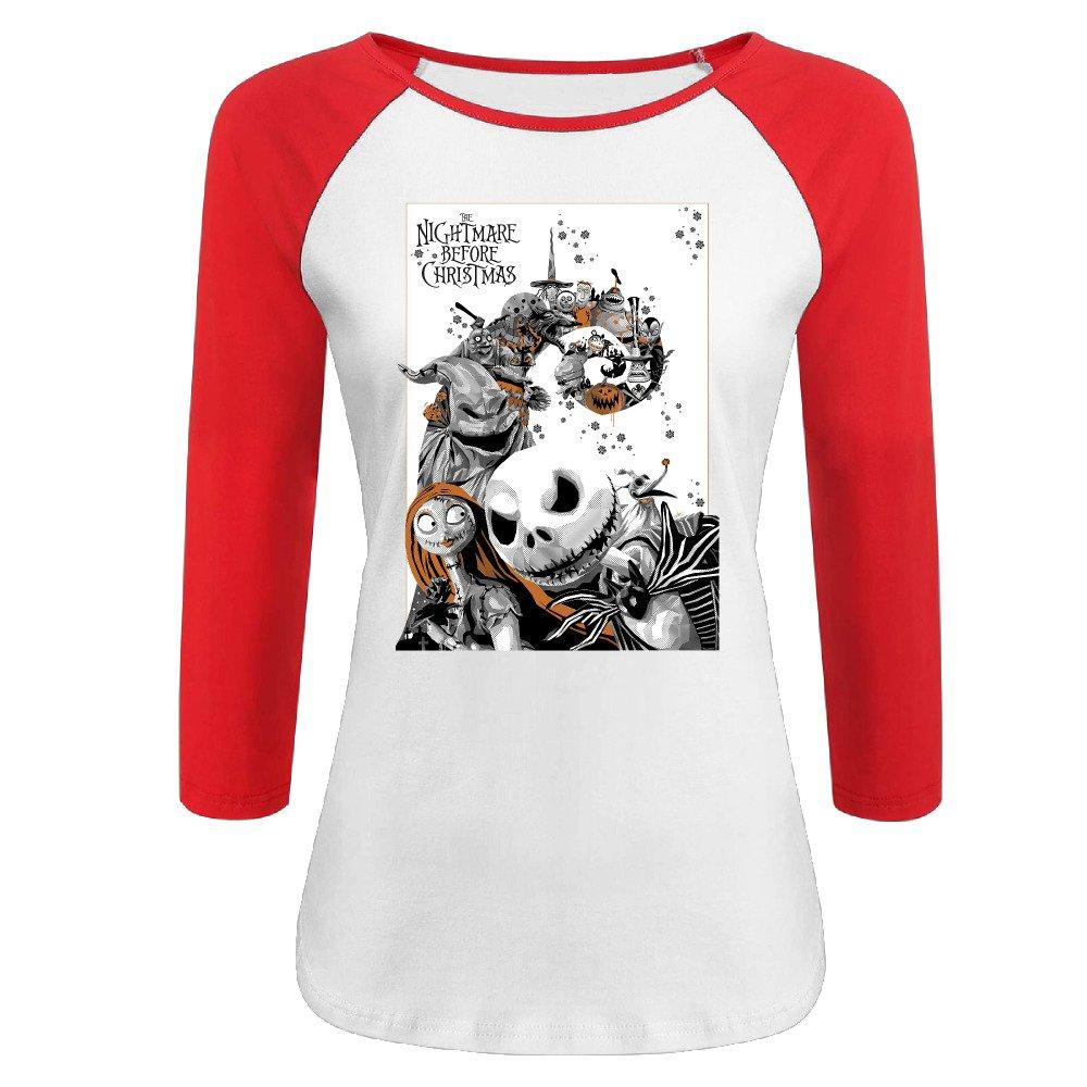 Amazon.com: Women\'s The Nightmare Before Christmas 100% Cotton 3/4 ...