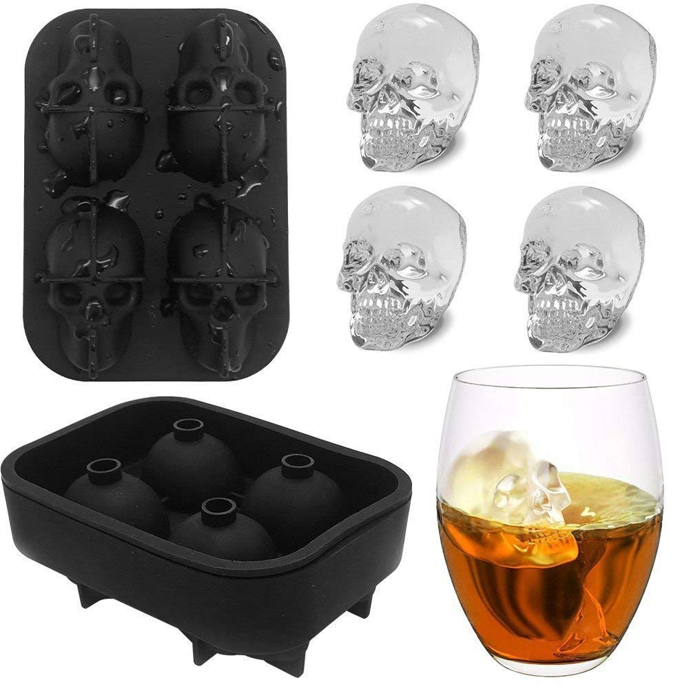 A skull shaped ice mould along with a glass of wine is shown in the image.a cool kitchen tool.