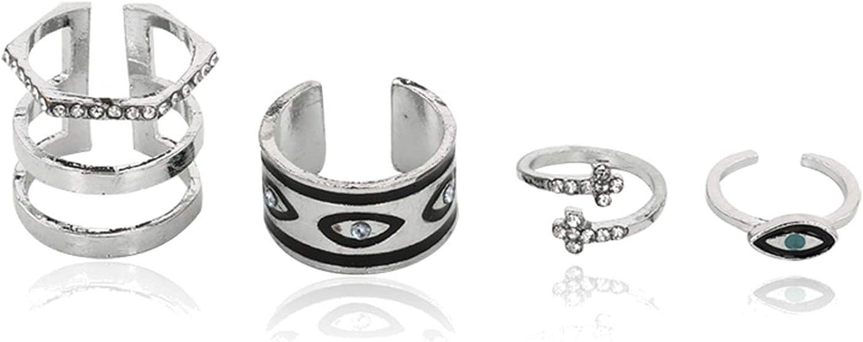 Epinki 4 Pcs Ring Sets for Women Girls Eye Cubic Zirconia Cross Vintage Stackable Midi Finger Ring Set
