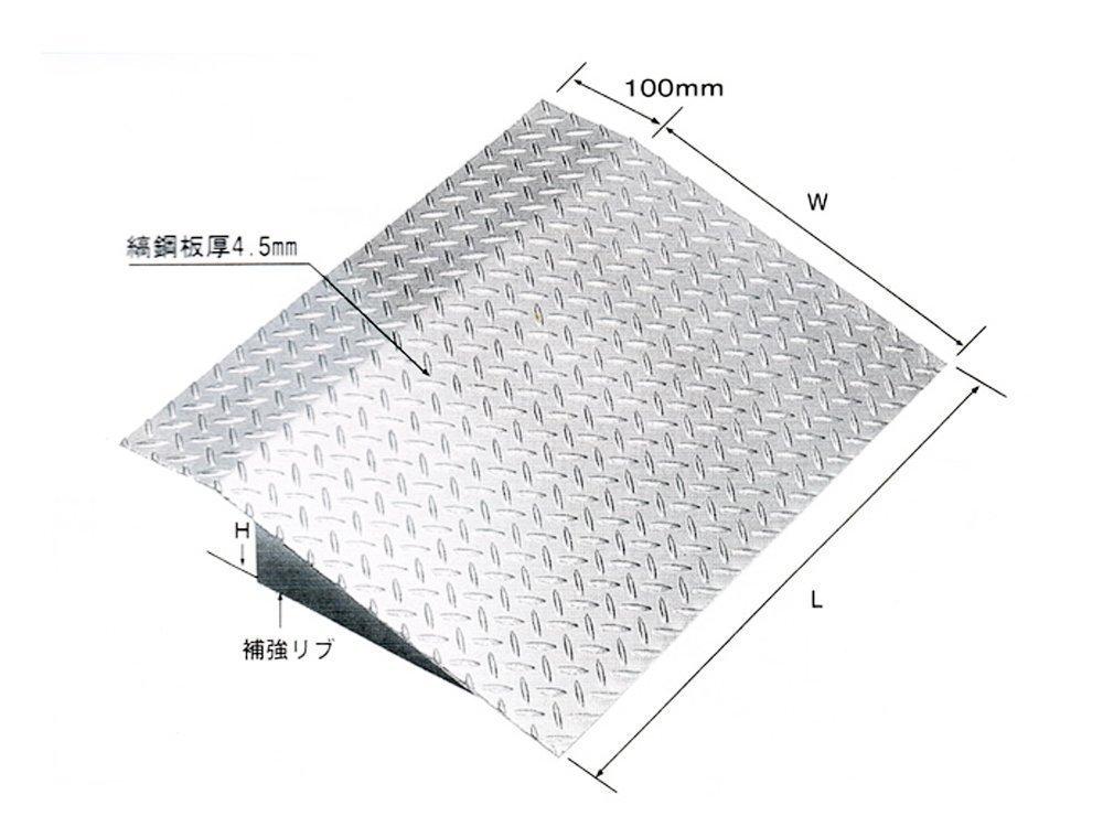 縞鋼板張り歩道上り 段差プレート 乗用車用(2t荷重) 適用段差 100~150mm 鋼板製融解亜鉛メッキ仕上げ HSL-1000-10 (長さL:1000, 適用段差100mm) B01IT3WRJ6 12500  適用段差100mm 長さL:1000