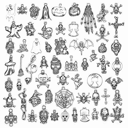 PGMJ 60 pcsWholesale Bulk Lots DIY for Necklace Bracelet Charms for Jewelry Making and Crafting Jewelry Making Silver Charms Mixed Smooth Tibetan Silver Metal Charms Pendants (60pcs Halloween Series)