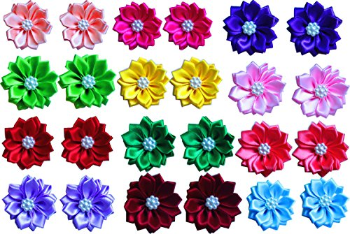 - yagopet 20pcs/10pairs Dog Hair Bows with Rubber Bands Petal Flower Dog Topknot with Flower Pearls Nice Dog Topknot Bows Pet Dog Grooming Bows Pet Supplies Dog Bows Hair Accessories