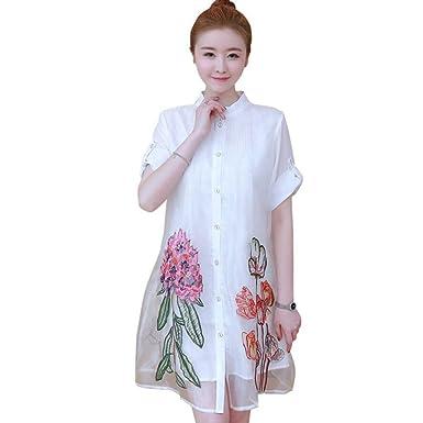 8adf3f546781 Women Boho Dress Organza Flowers Embroidery Sleeve Shirt Dress Casual Maxi  Dresses Vintage Loose Long Sleeve Dress: Amazon.co.uk: Clothing