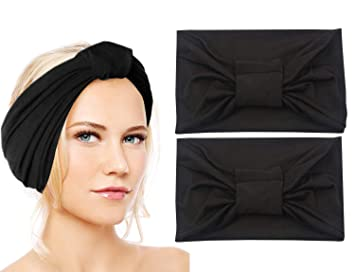 931be664126 Amazon.com   Sunland Womens Headbands Cotton Elastic Head Wrap Stretchy  Moisture Yoga Hairband Scarf Twisted Cute Workout Hair Accessories 2 Pack  Black   ...
