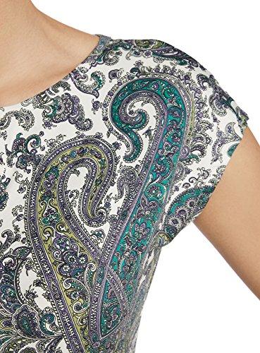 oodji Collection Mujer Vestido de Punto con Cinturón Blanco (126AE)