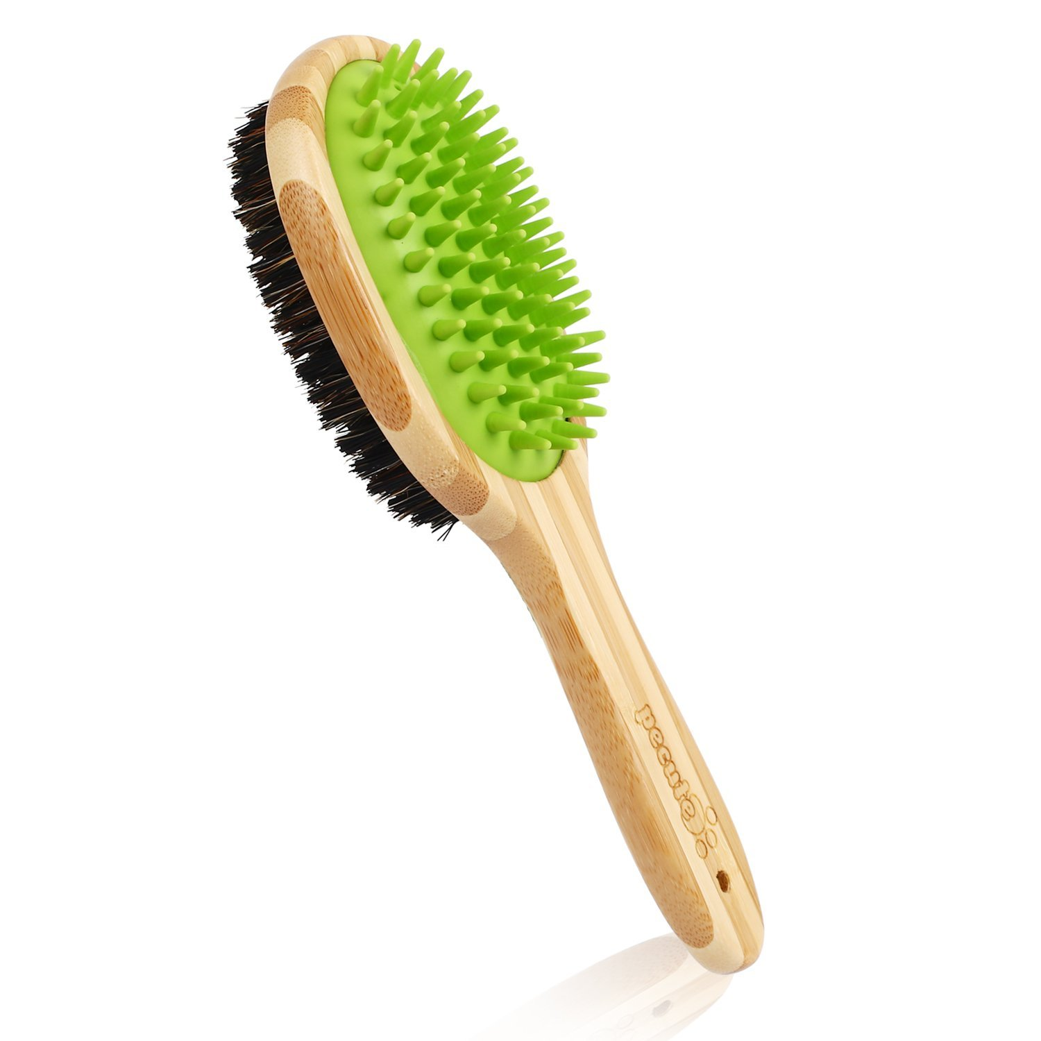 Pecute Dog Bath Brush, Pet Dog Grooming Brush for Massage and Shedding, Double Sided Bamboo Pet Brush with Bristle Silicone Pin for Dog Cat Long and Short Hair
