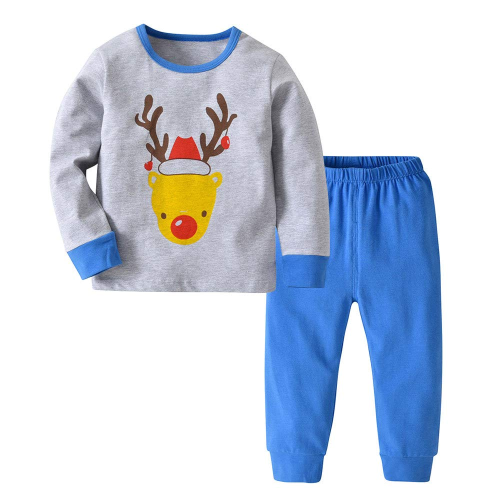 2PCS Christmas Toddler Baby Boys Girls Cartoon Clothing Set Long Sleeve Shirt and Pants Set