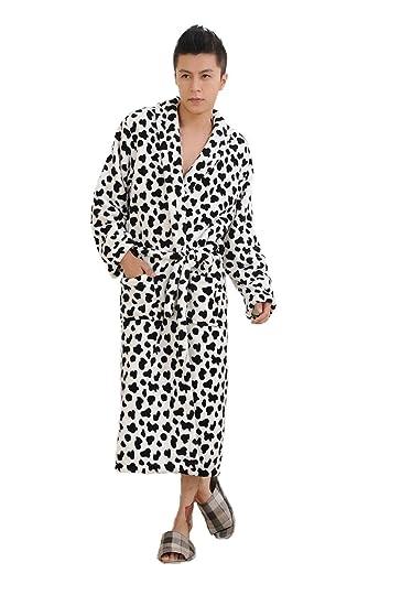 44853d4715 WELVT Men s Shawl Collar Full Length Plush Soft Warm Fleece Bathrobe Robe  Pajamas (Free Size