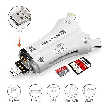 Micro Lector de tarjetas SD, 4 en 1 lector de tarjetas Micro ...