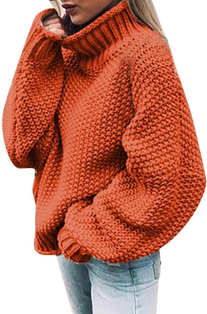 Da Donna Manica Lunga Maglione Dolcevita Maglioni Vestito Maglieria Pullover Top