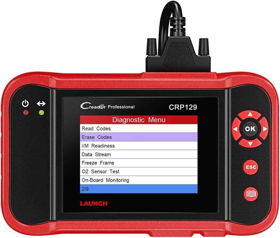 Launch X431 CRP129 Diagnosis Multimarca OBDII EOBD Lectura Borrado Códigos Error, Motor, Transmisión, ABS, Airbag, Aceite, SAS, Batería con Tarjeta 1 GB Actualizaciones Marcas Incluidas
