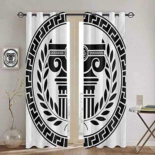 Valance Curtains – Toga Party Hellenic Column and Laurel Wreath Heraldic Symbol with Olive Branch Graphic – Kids Room Living Room Dorm – 84×84 Inch – Black White