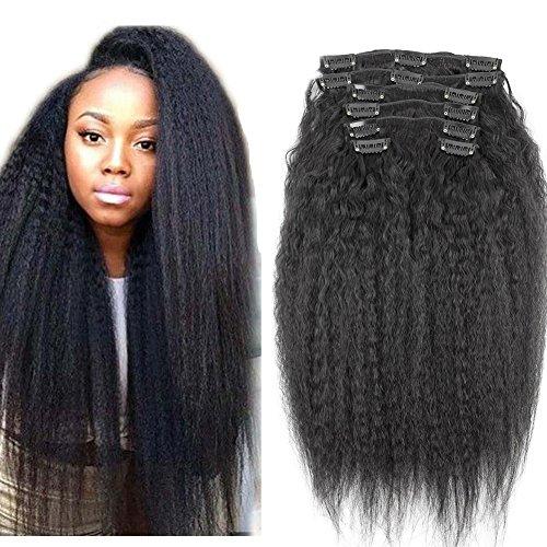 8inch Kinky Straight Clip In Human Hair Extensions 8A Italian Coarse Yaki Human Hair Brazilian Virgin Hair Clip In Extension 7pcs 120gram