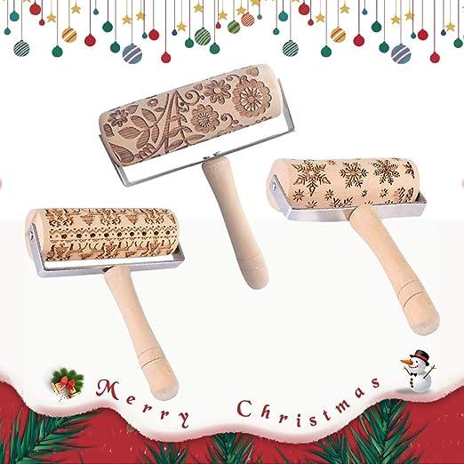 Christmas Rolling Pin Laser Embossing Engraved Dough Roller DIY Cookies Tool US
