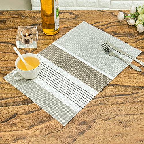 Placemats,HEBE Heat Resistant Placemats Set of 6 Washable Gr