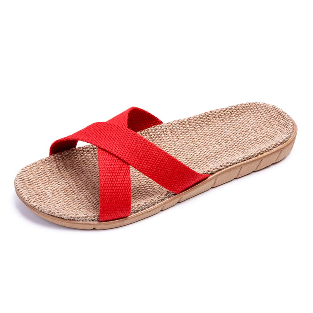 bestfur Womens Colourful Cozy Natural Flax Linen Home Slippers Soft Sole Breathable Waterproof