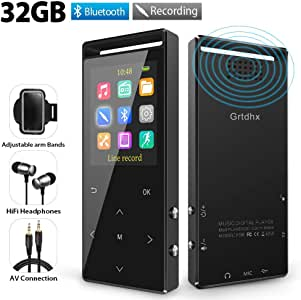 MP3 Player, 32GB MP3 Players with Bluetooth, Hi-Fi Lossless Sound Music Player with FM Radio, Voice Recorder, Pedometer, Expandable up to 128GB TF Card, with Armband and Earphone, Black