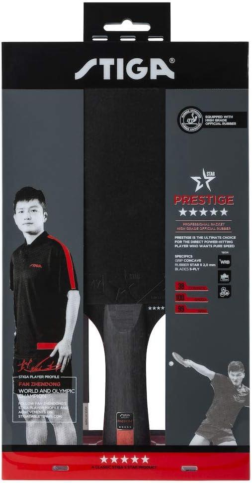STIGA Unisexs 5-Star Prestige Tabletennis Bat One Size Black//Red