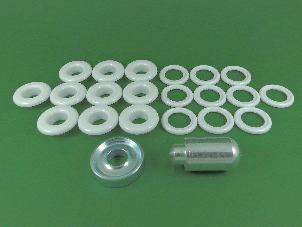 BP 12P76Bianco 12mm, in plastica, con occhielli e rondella Kit di riparazione Ossian Fasteners