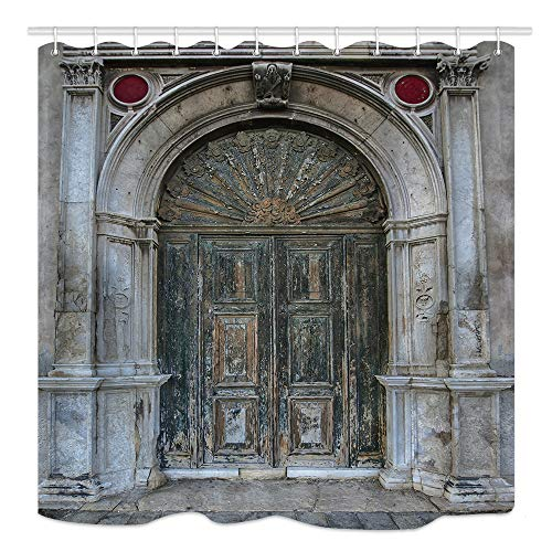 KOTOM Antique Castle Wwooden Door Shower Curtain, Vintage Prtal Doorway, Waterproof Polyester Fabric Bathroom Decor, Bath Curtains Accessories, with Hooks, 69X70 Inches
