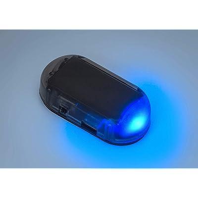 PerfecTech Car Solar Power Simulated Dummy Alarm Warning Anti-Theft LED Flashing Security Light with new USB port (Blue): Automotive