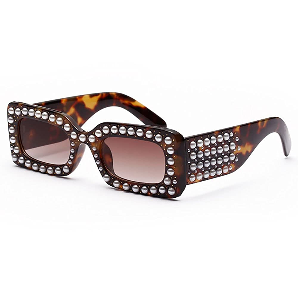 SHEEN KELLY Luxus Perlen Sonnenbrillen Diamant Rechteckige ...