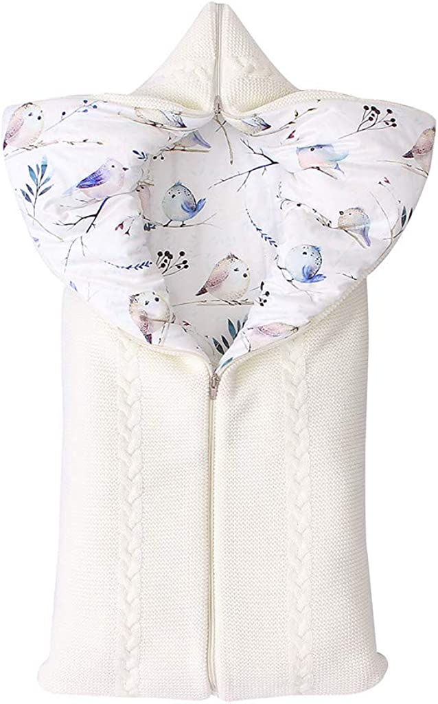 MORETIME Newborn Baby Sleeping Bag Knitted Zipper Swaddle Hooded Stroller Wrap Sleeping Clothes Pram for Cot Bed Knit Floral Moses Basket 0-12 Months Boy and Girl Winter Warm Pink