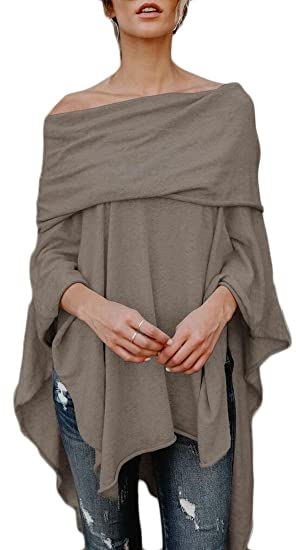 c8c6a164c5d8ee WSPLYSPJY Women s Off Shoulder Irregular Hem Soft Knitted Poncho Loose  Blouse Top at Amazon Women s Clothing store