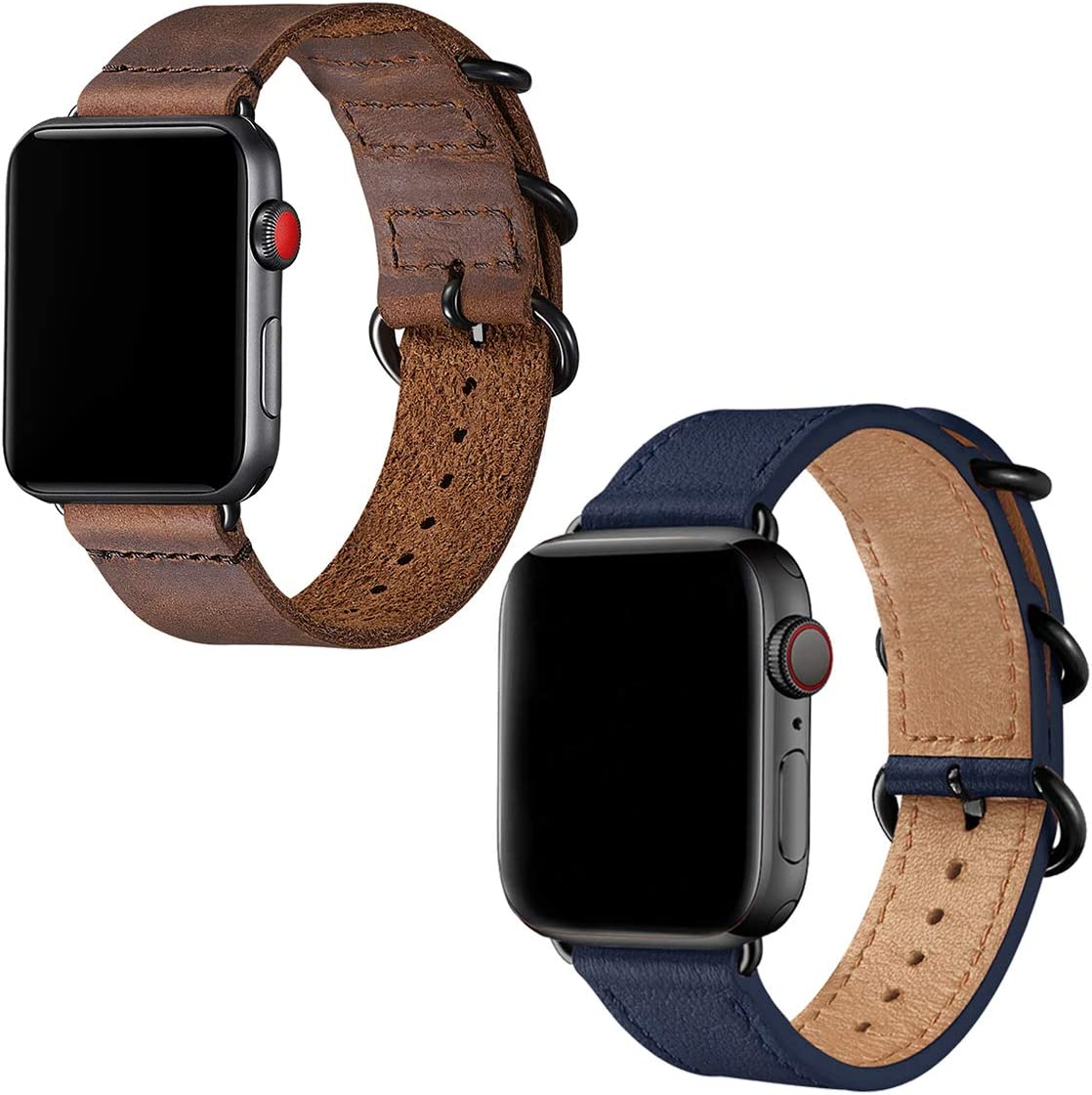 Leather Bands Compatible with Apple Watch band 42mm 44mm,Genuine Leather Strap Compatible for Men Women iWatch Series5 Series4/3/2/1