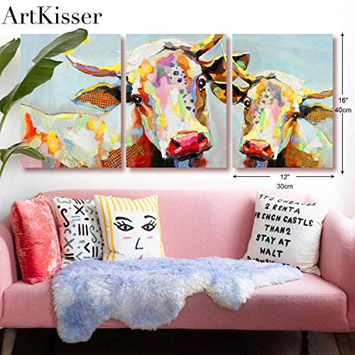ArtKisser Modern Colorful Cow Wall Decor on Canvas Animal Canvas Wall Decoration Home Decor for Living room Stretched and Framed Ready to Hang 12''x16'' 3pcs
