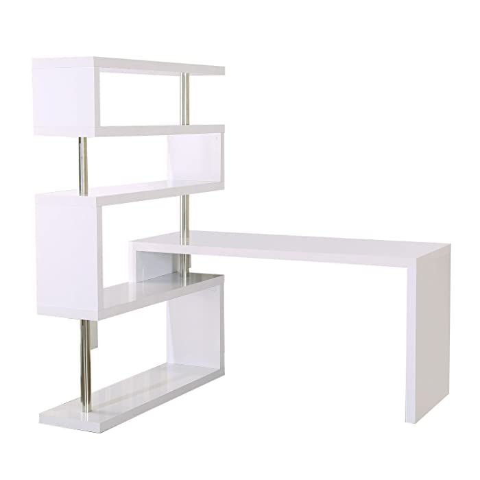 The Best Office Computer Desk White High Gloss Bookcase