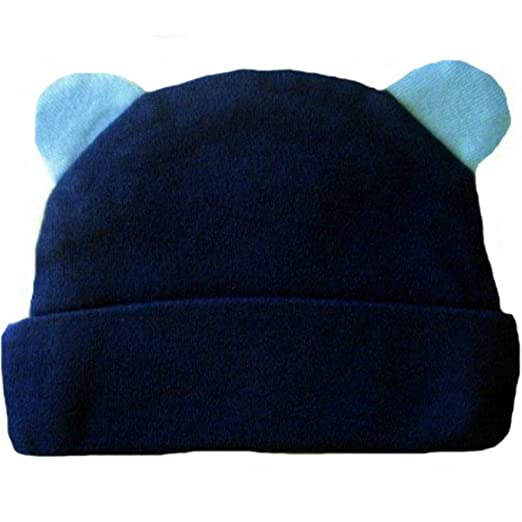 10d0566cbab Amazon.com  Jacqui s Baby Boys  Blue Bear Hat with Ears  Clothing