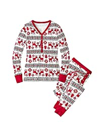 KINDOYO Family Christmas Pajamas Sets Deer Striped Sleepwear