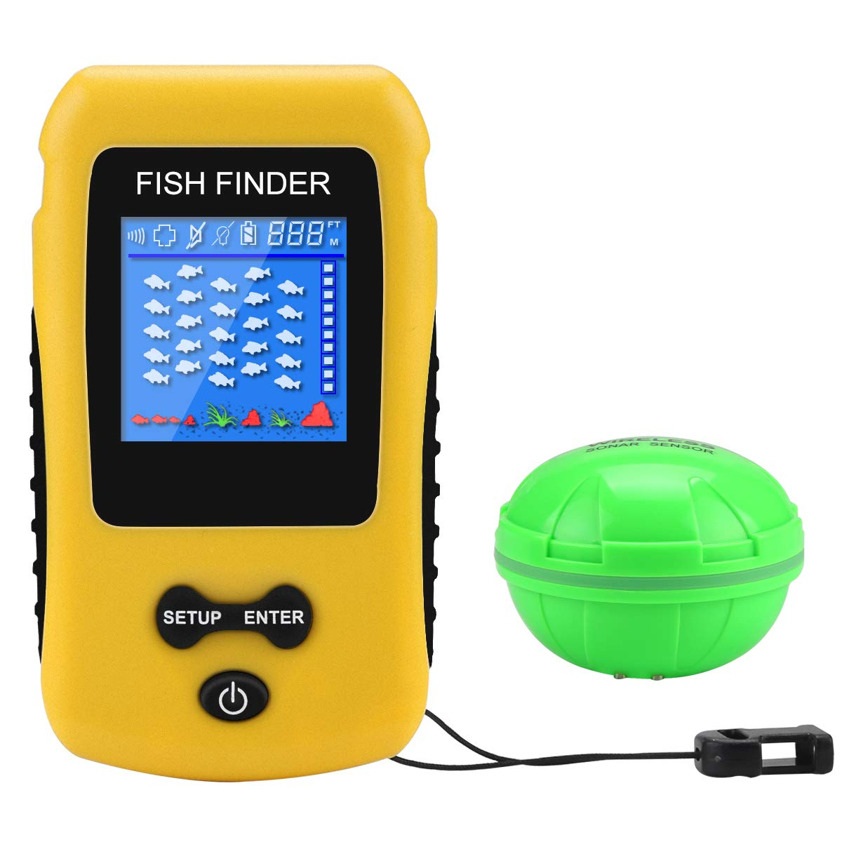 Portable Fish Finder Wireless Transducer Fishfinder for Boat,Kayak Ice Fishing, Shore Fishing and Sea Fashing by Adkwse