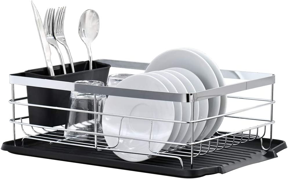 Chrome Dish Drying Rack, BoomHoze Kitchen Countertop Drainboard Draining Dish Rack with Black Drying Board and Utensil Holder
