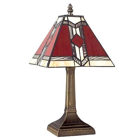 MiniSun - Lámpara de mesa de estilo Tiffany azteca con base de bronce