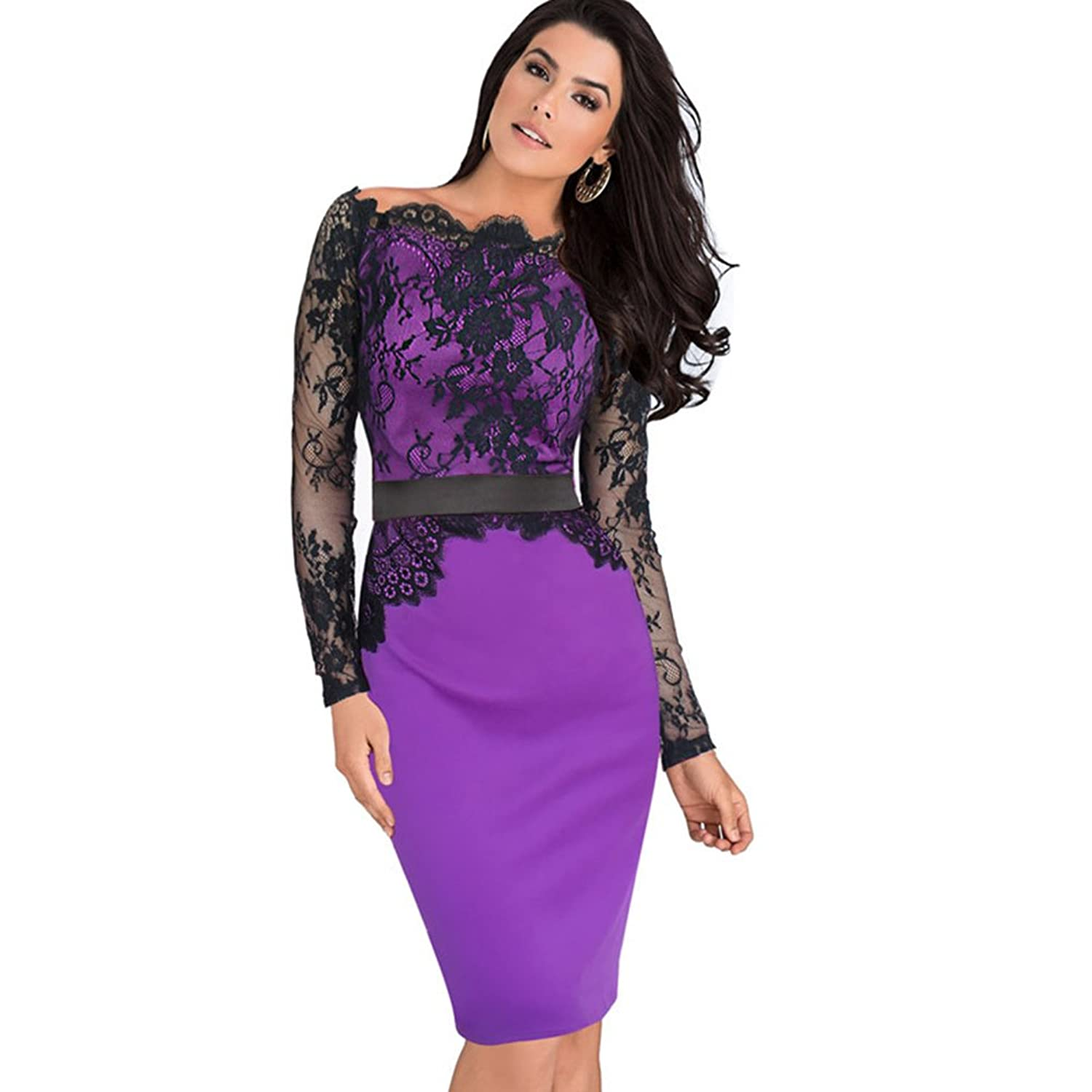 Aurora Bridal@ Lace Off Shoulder Patchwork Belted Stretch Bodycon Party Dresses