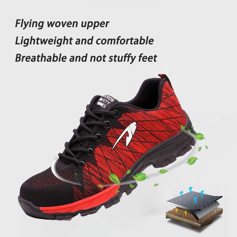 fashionon Chaussures de sécurité Hommes et Femmes S3 Chaussures de Travail à Embout en Acier léger Chaussures de Protection Respirantes et légères 35-46EU Rouge 536