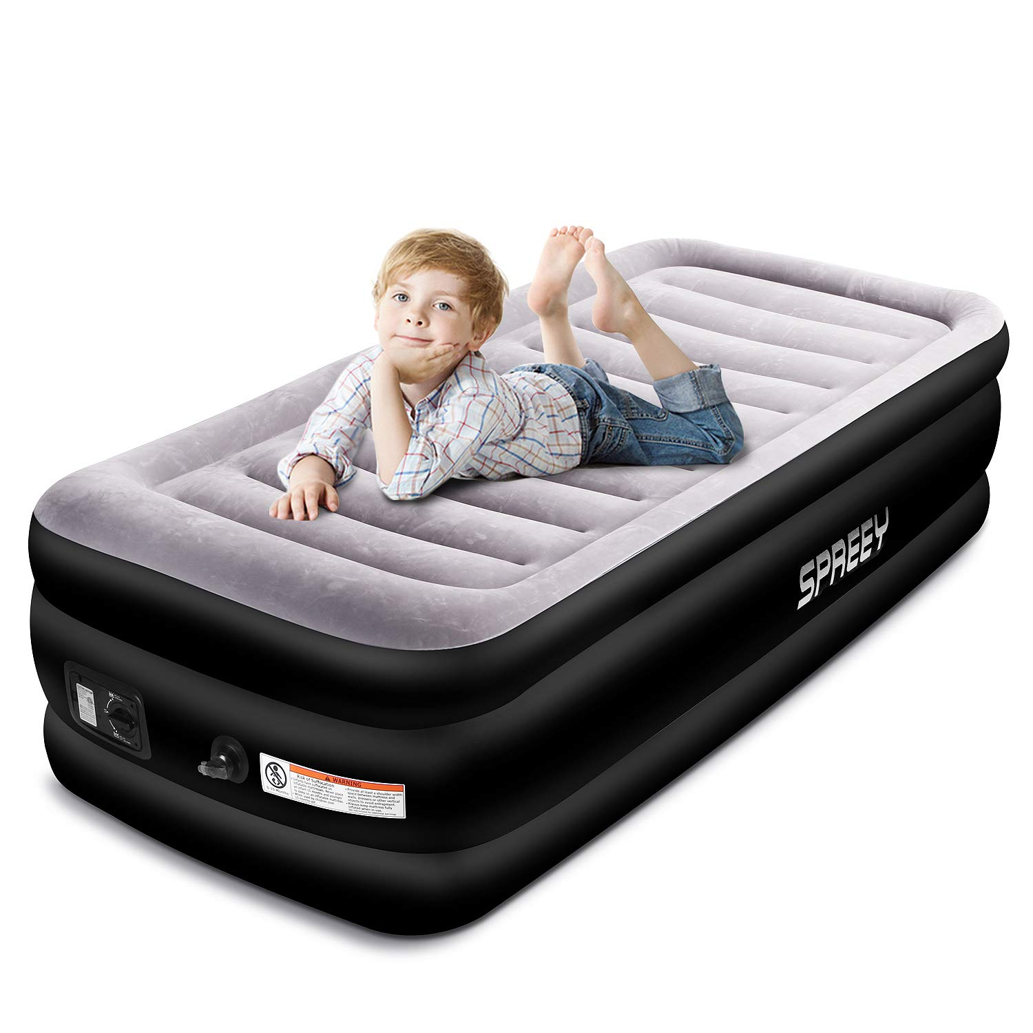 SPREEY Air Mattress Air Bed Comfort Coil Technology & Built-in Electric Pump, Twin Inflatable Mattress Bed Soft Flocking Layer Portable Equipped Storage Bag Black Twin (77 x 38 x 20 in)