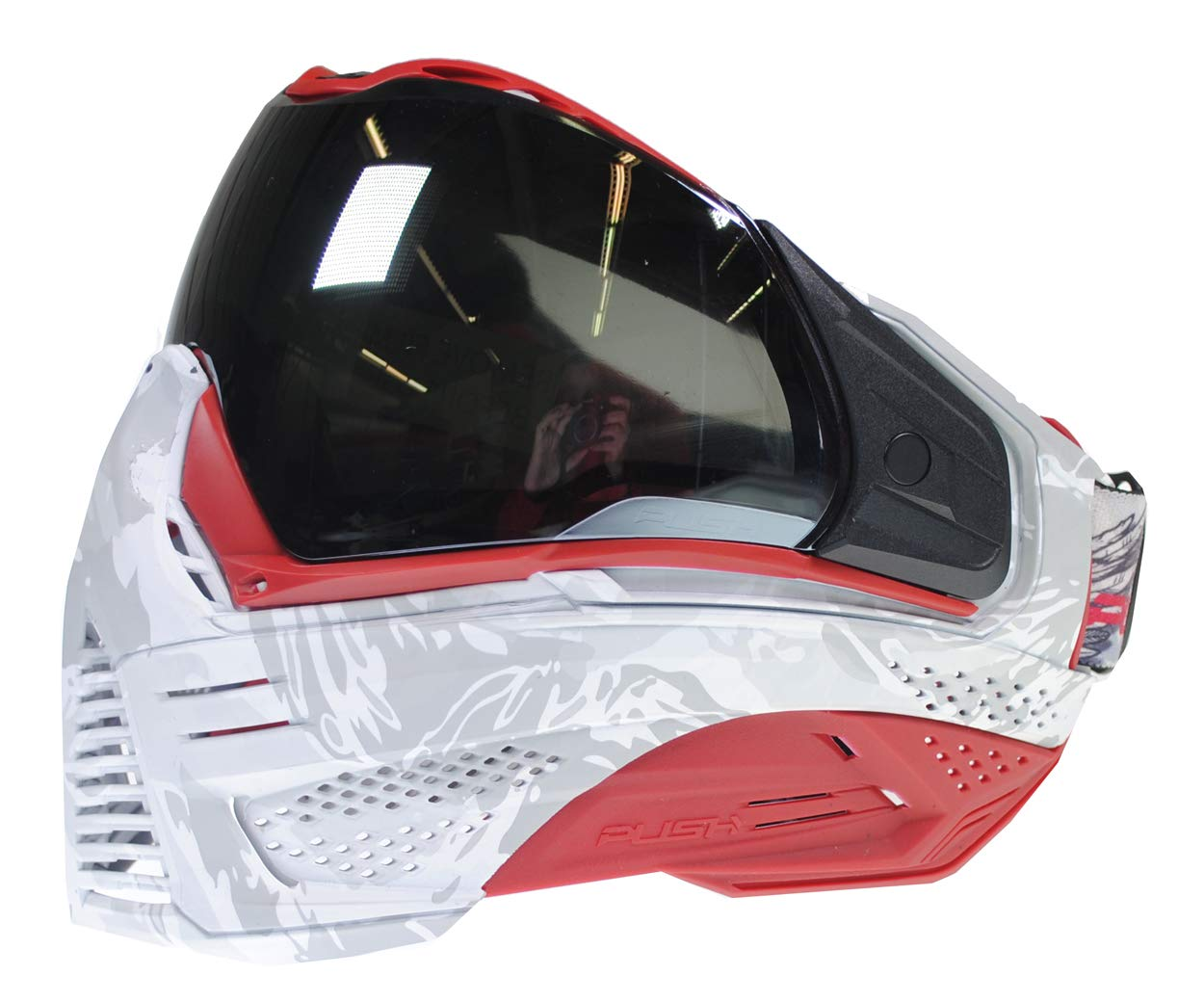 Push Unite Paintball Goggles MASK with Quad PANE Lens and CASE (Angel White Red Airups) by Push Paintball