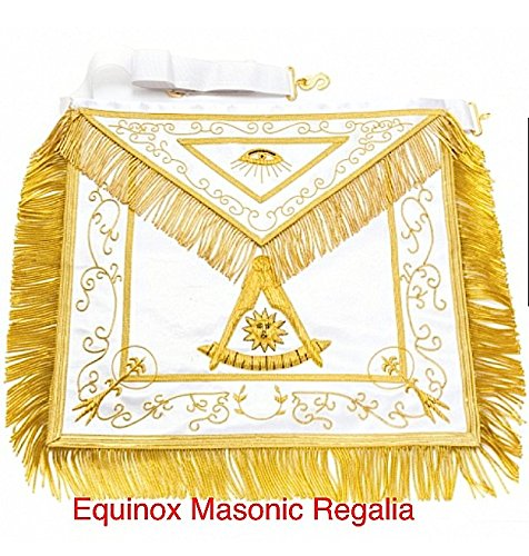 Masonic Past Master Golden Embroidery Apron Regalia by Equinox MR