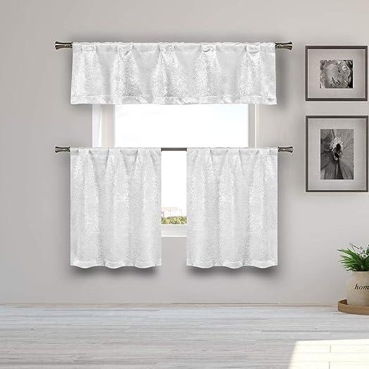 Kelvin – Home Decorator Blackout Room Darkening Kitchen Tier Valance Set Small Window Curtain for Cafe, Bath, Laundry, Bedroom – White